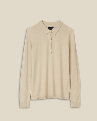 Amilia Cotton/Silk Blend Knitted Polo, Light Beige Melange