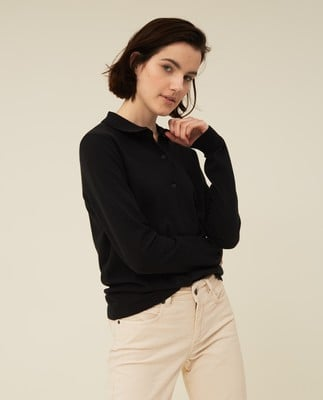 Chiara Cotton/Silk Blend Knitted Polo, Black