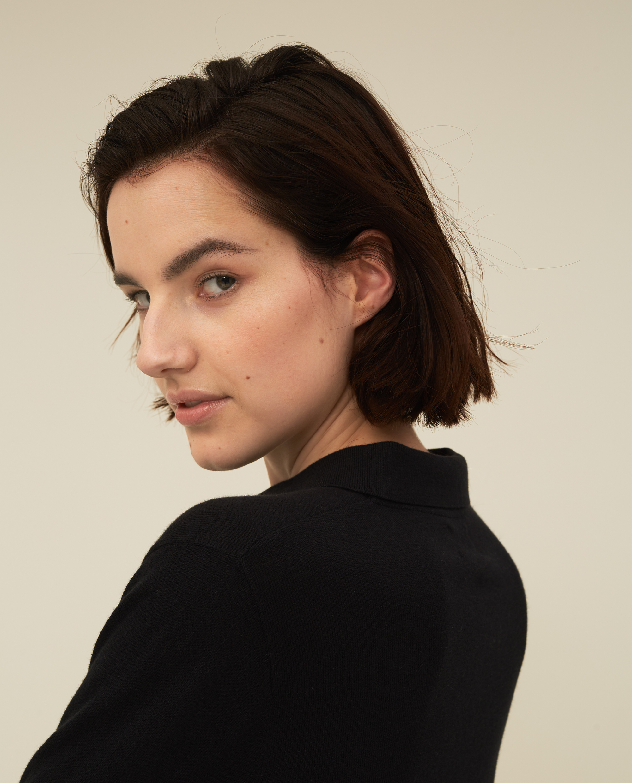 Chiara Cotton/Silk Blend Knitted Polo, Black