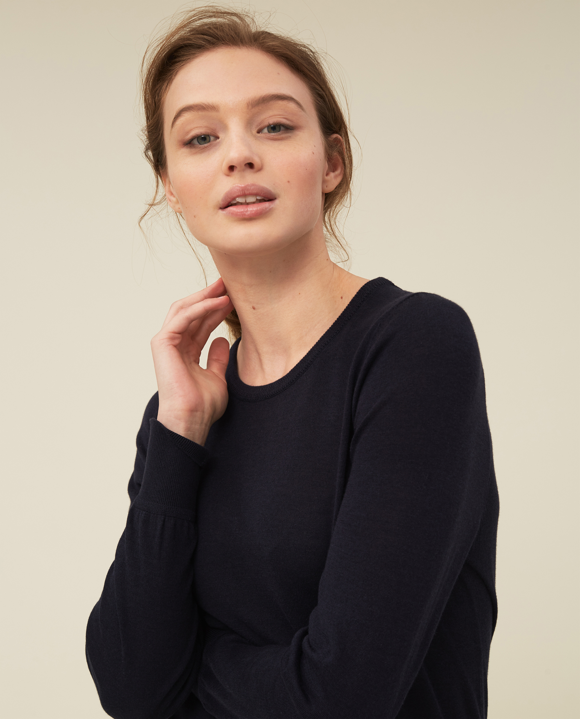 Yvette Cotton/Bamboo Sweater, Dark Blue