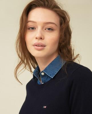 Yvette Cotton/Bamboo Sweater, Dark Blue