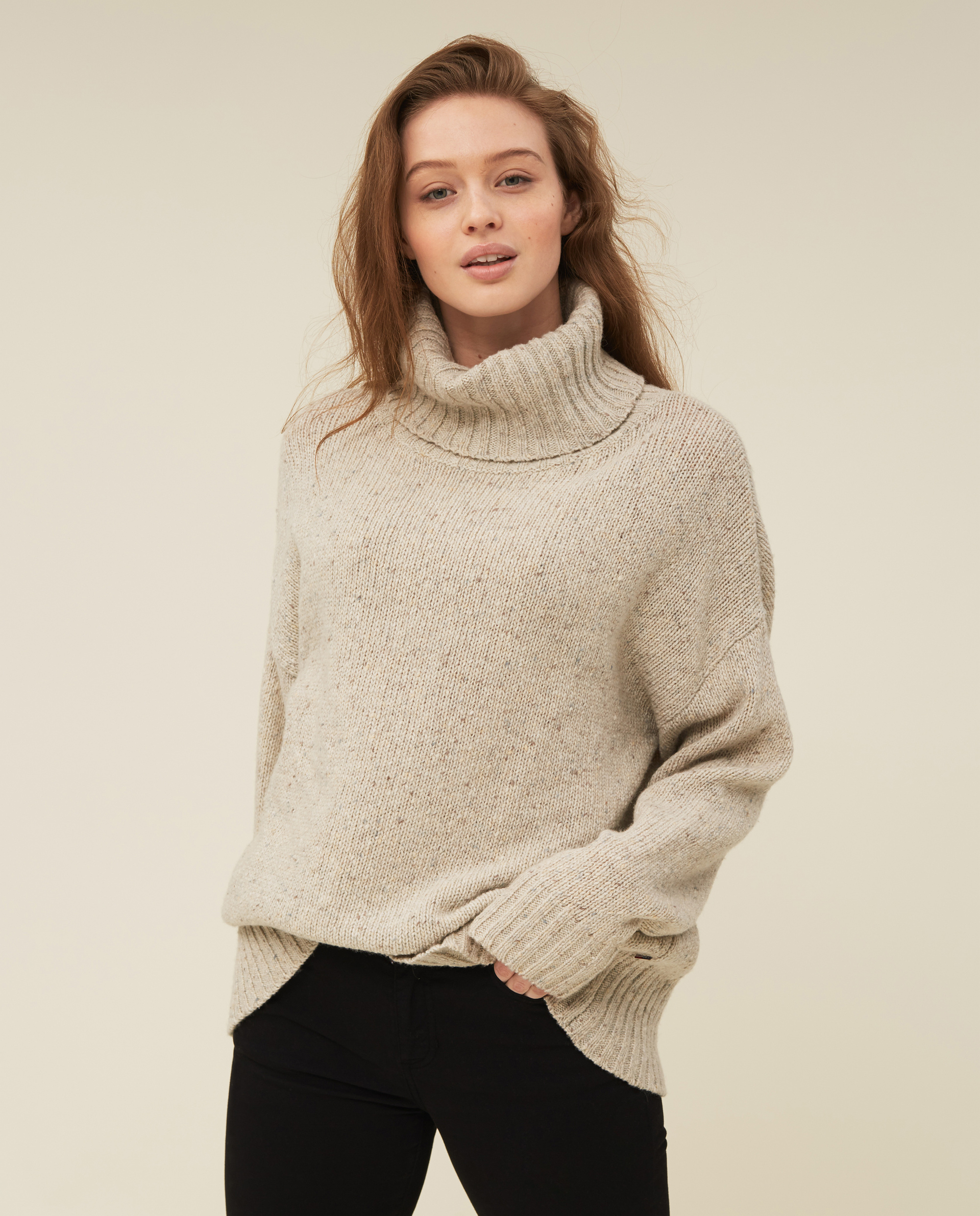 Lola Merino/Alpaca Blend Roll Neck, Light Beige Melange