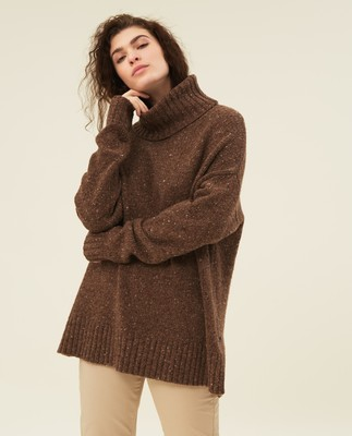 Lola Merino/Alpaca Blend Roll Neck, Brown Melange