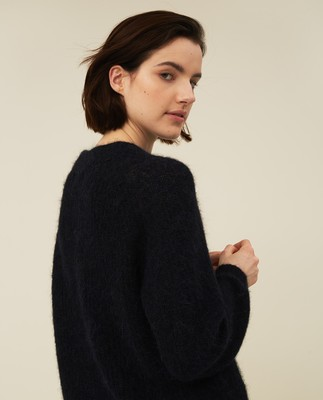 Siri Alpaca Blend Sweater, Dark Blue
