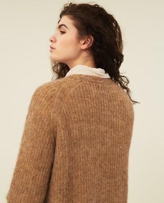 Siri Alpaca Blend Sweater, Beige Melange