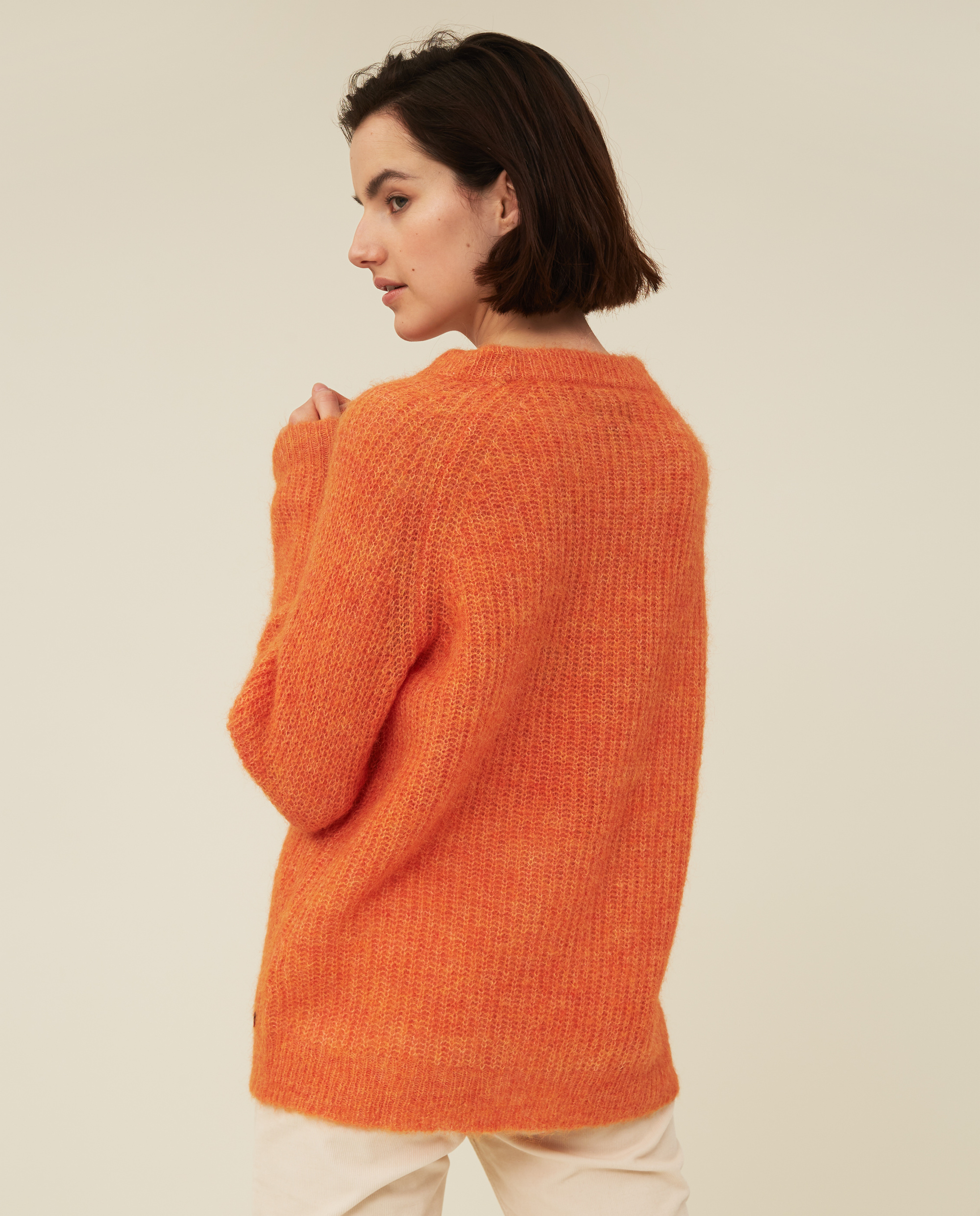 Siri Alpaca Blend Sweater, Orange Melange