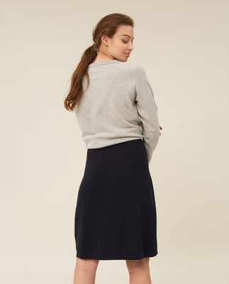 Chastity Cotton/Bamboo Knitted Skirt, Dark Blue