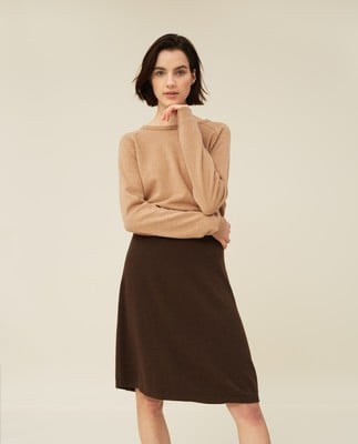 Chastity Cotton/Bamboo Knitted Skirt, Brown