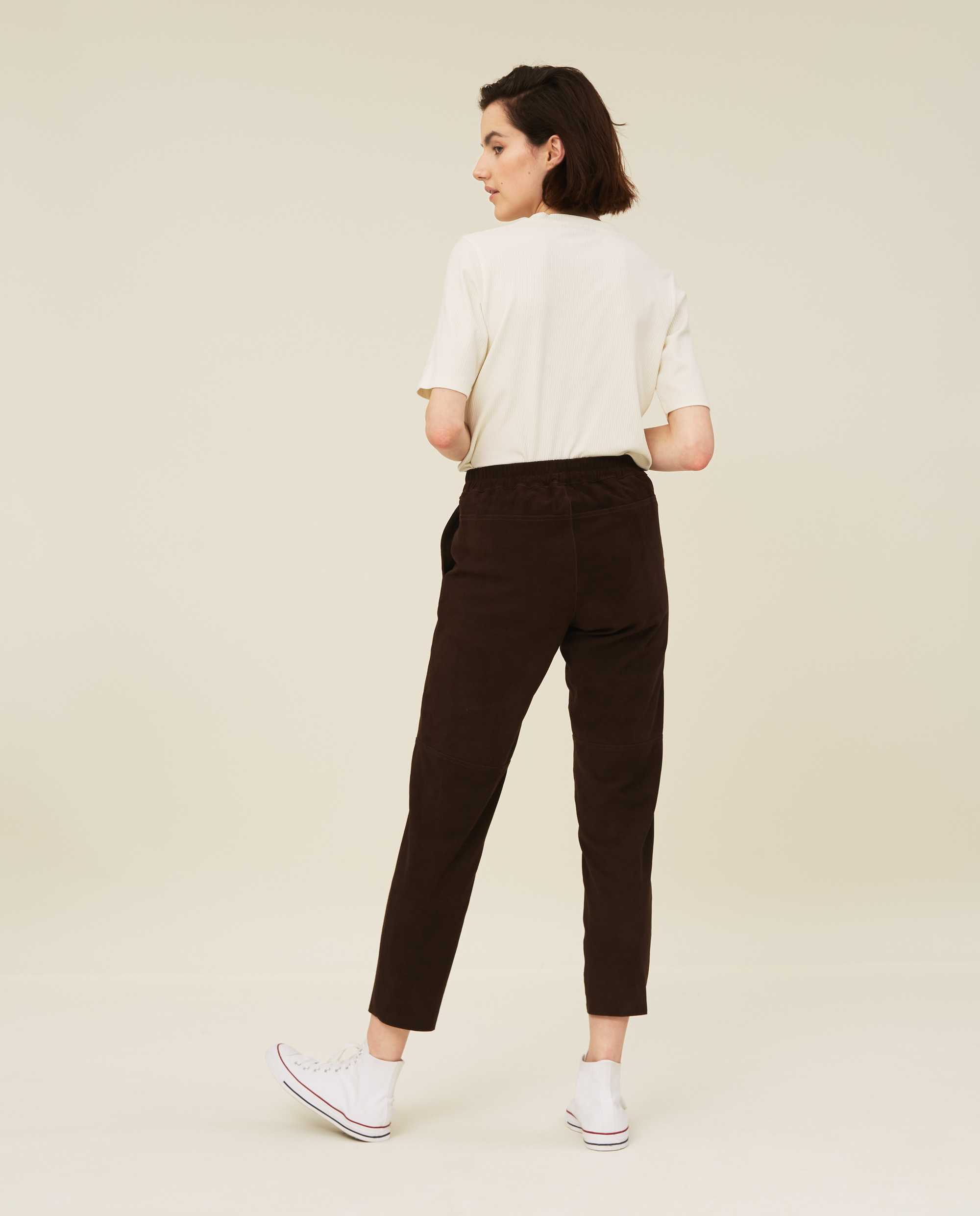Olivia Suede Pants, Dark Brown