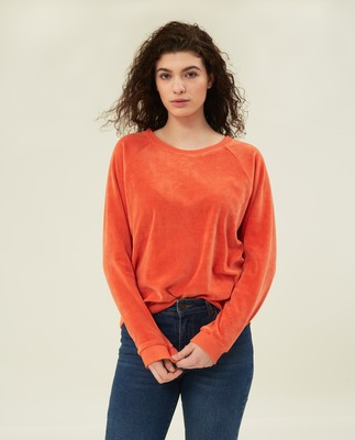 Martha Velour Sweatshirt, Orange