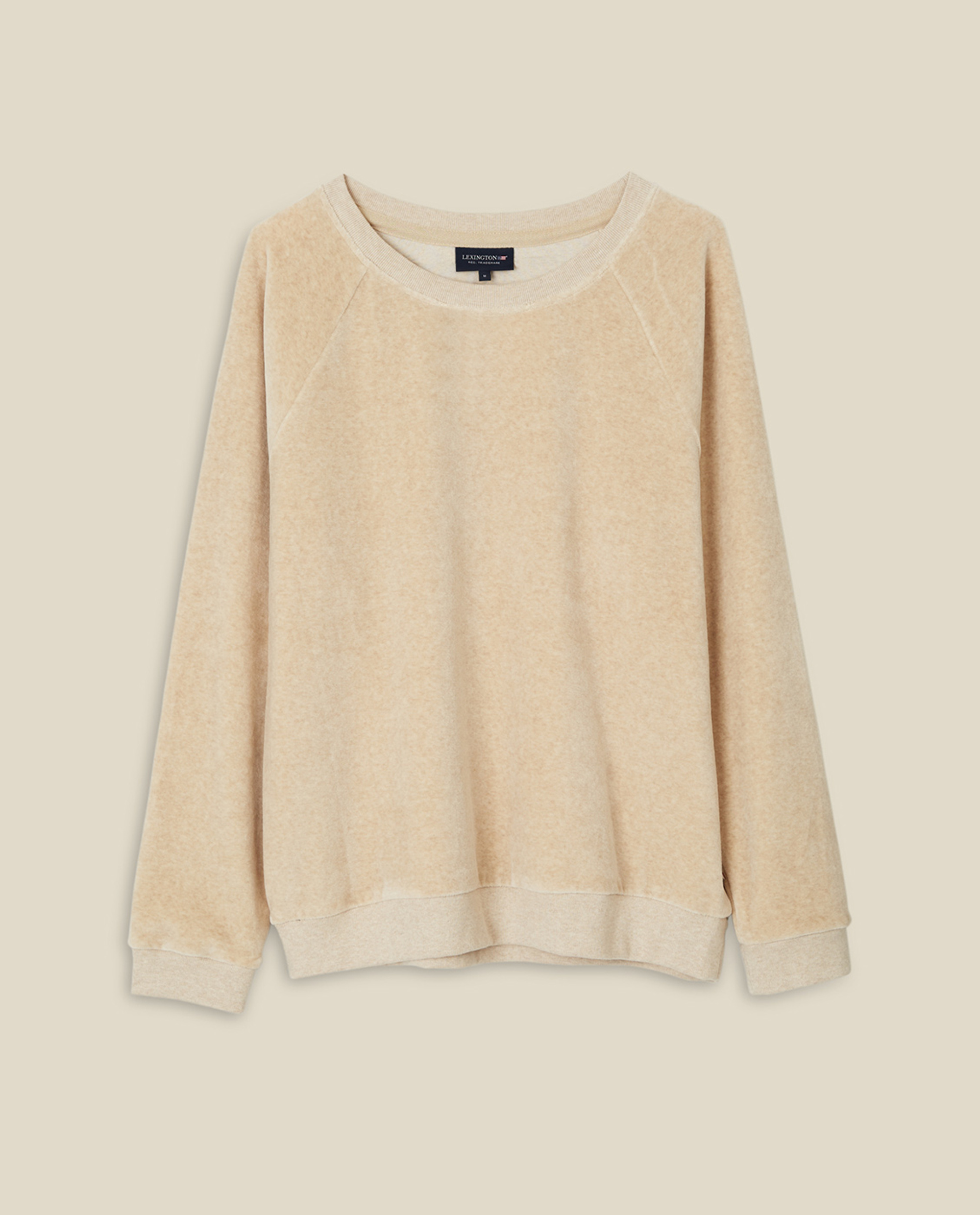 Martha Velour Sweatshirt, Light Beige Melange