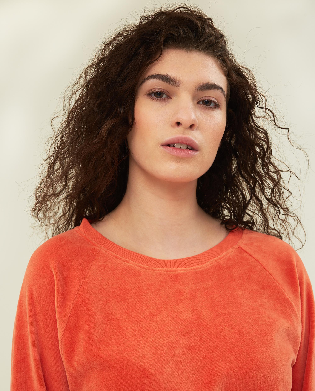 Martha Velour Sweatshirt, Orange