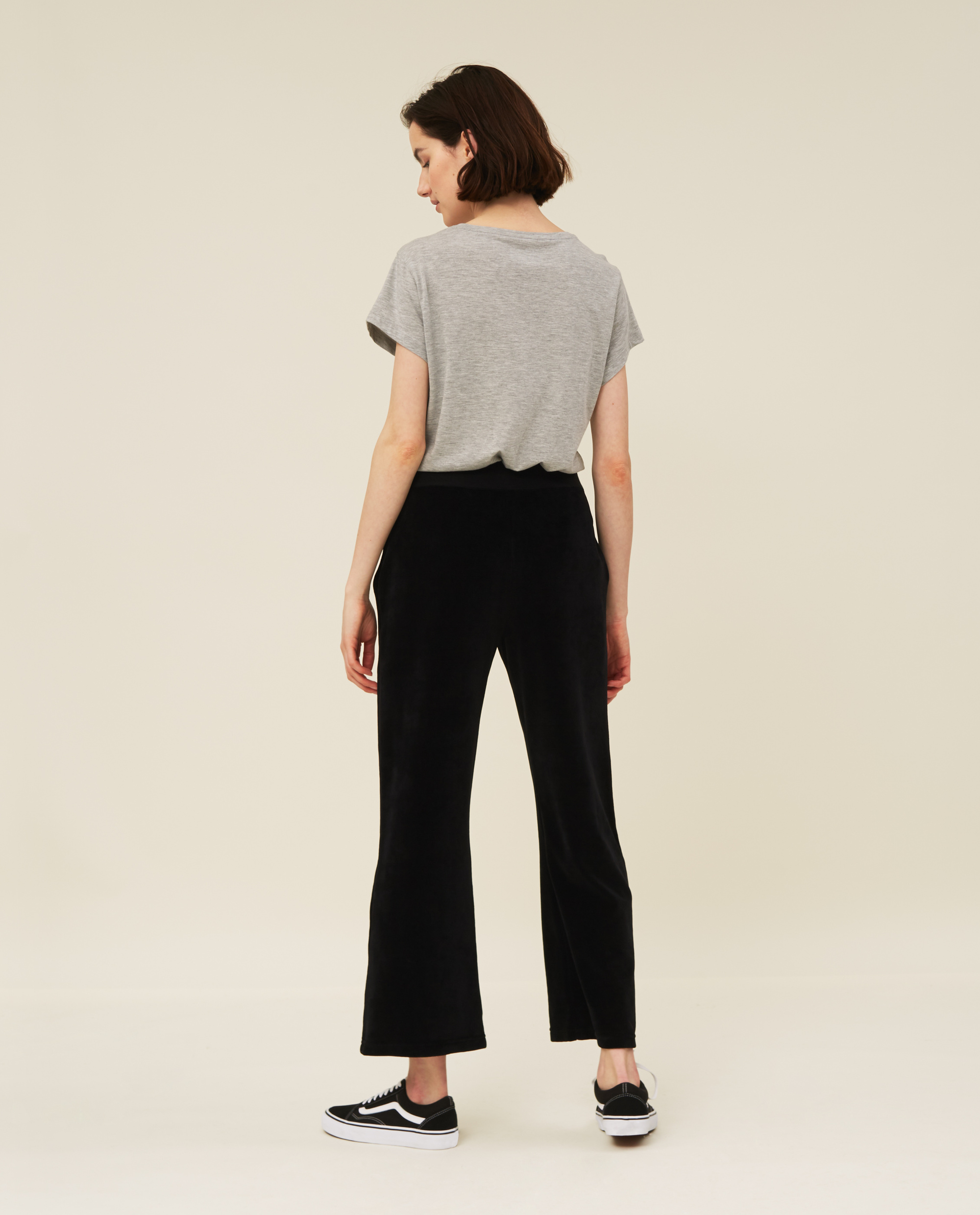 Leona Velour Pants, Black