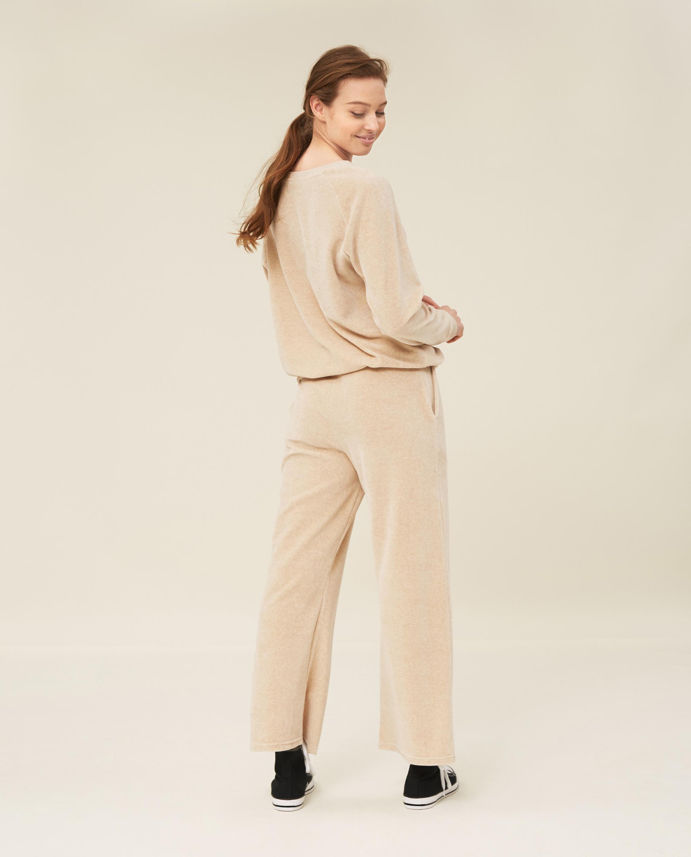 Leona Velour Pants, Light Beige Melange