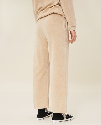 Leona Velour Pants, Light Beige Melange