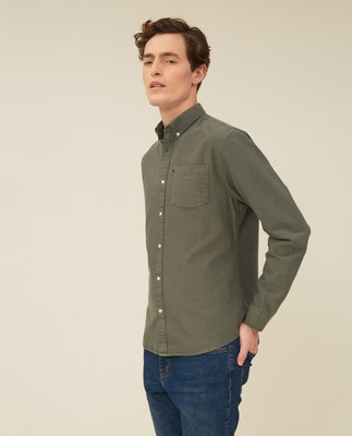 Kyle Organic Cotton Oxford Shirt, Green