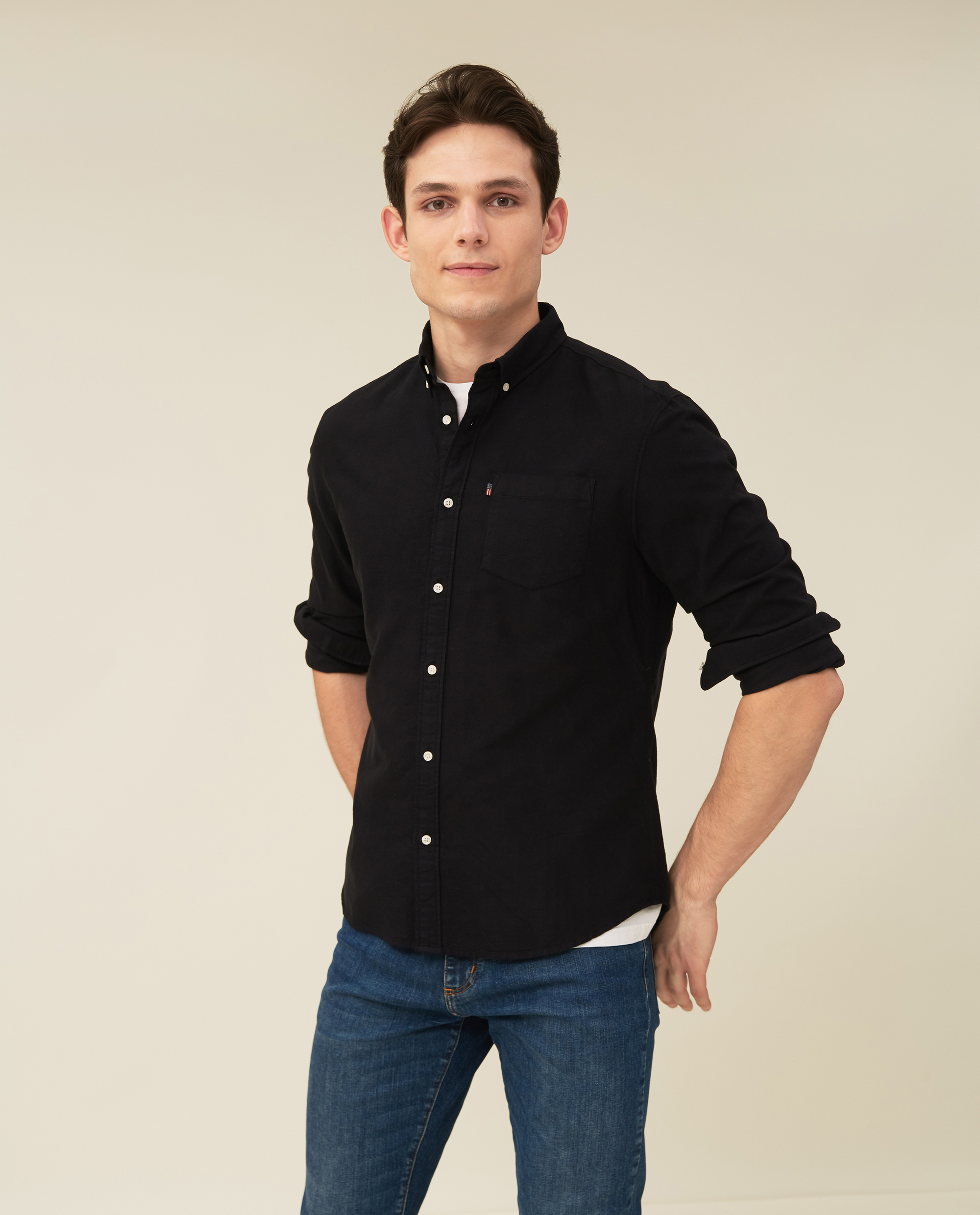 Kyle Organic Cotton Oxford Shirt, Black