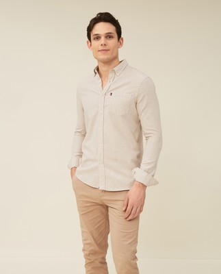 Peter Lt Flannel Shirt, Light Beige Melange