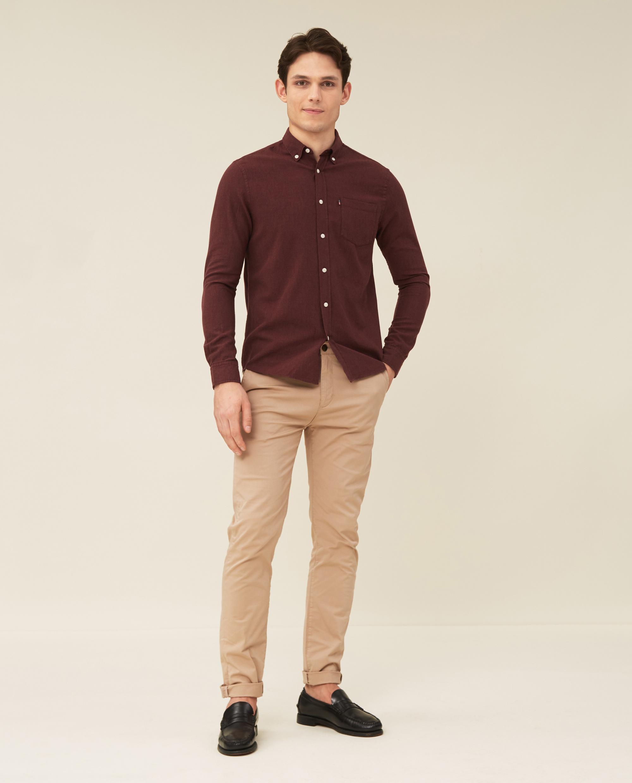 Peter Lt Flannel Shirt, Dark Red
