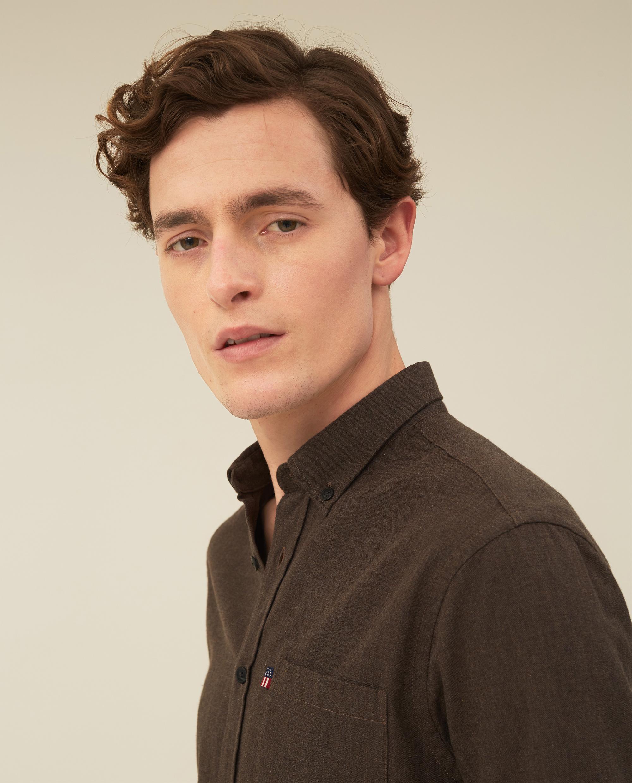 Peter Lt Flannel Shirt, Brown Melange