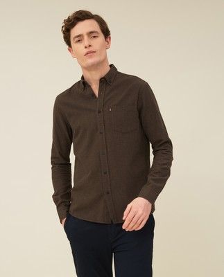 Peter Lt Flannel Shirt, Brown Melange