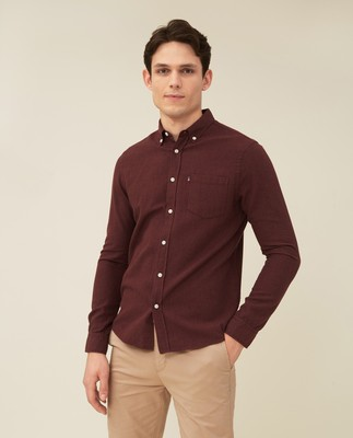 Peter Lt Flannel Shirt, Dark Red