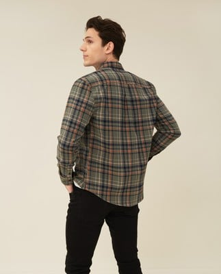 Peter Lt Flannel Checked Shirt, Green Check Multi