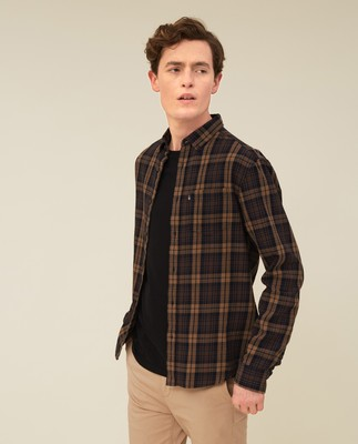 Clive Checked Shirt, Brown Multi
