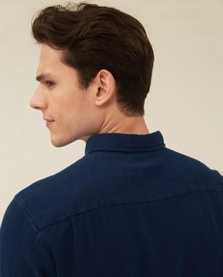 Clive Herringbone Shirt, Indigo