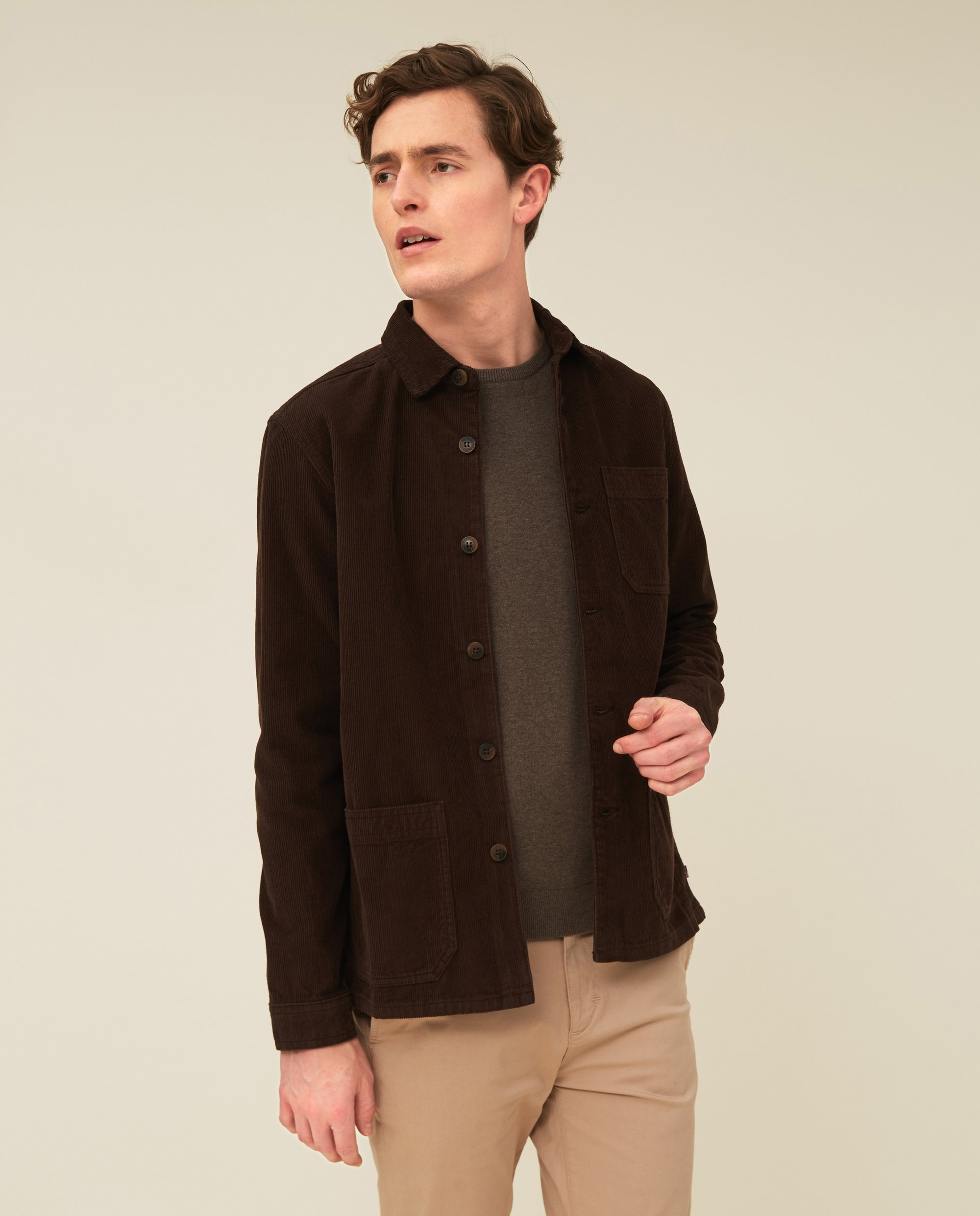 Robert Cord Overshirt, Brown