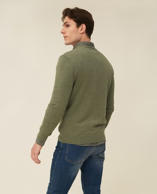 Bradley Organic Cotton Crew Neck Sweater, Green Melange