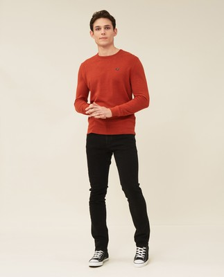 Bradley Organic Cotton Crew Neck Sweater, Orange Melange