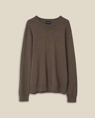 Bradley Organic Cotton Crew Neck Sweater, Brown Melange