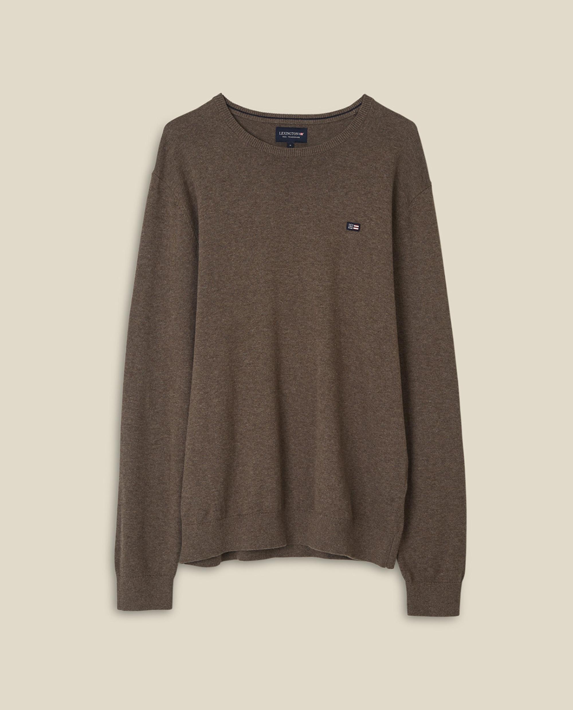 Bradley Organic Cotton Crew Neck Sweater, Brown Melange