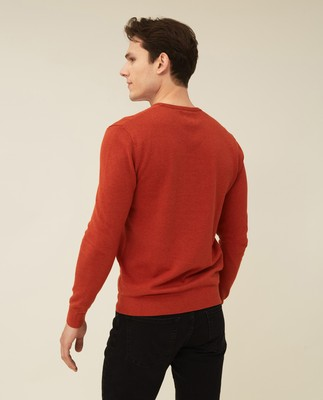 Bradley Organic Cotton Crew Neck Sweater, Orange Melange
