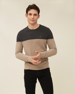 Graham Organic Cotton Crew Neck Sweater, Brown/Gray