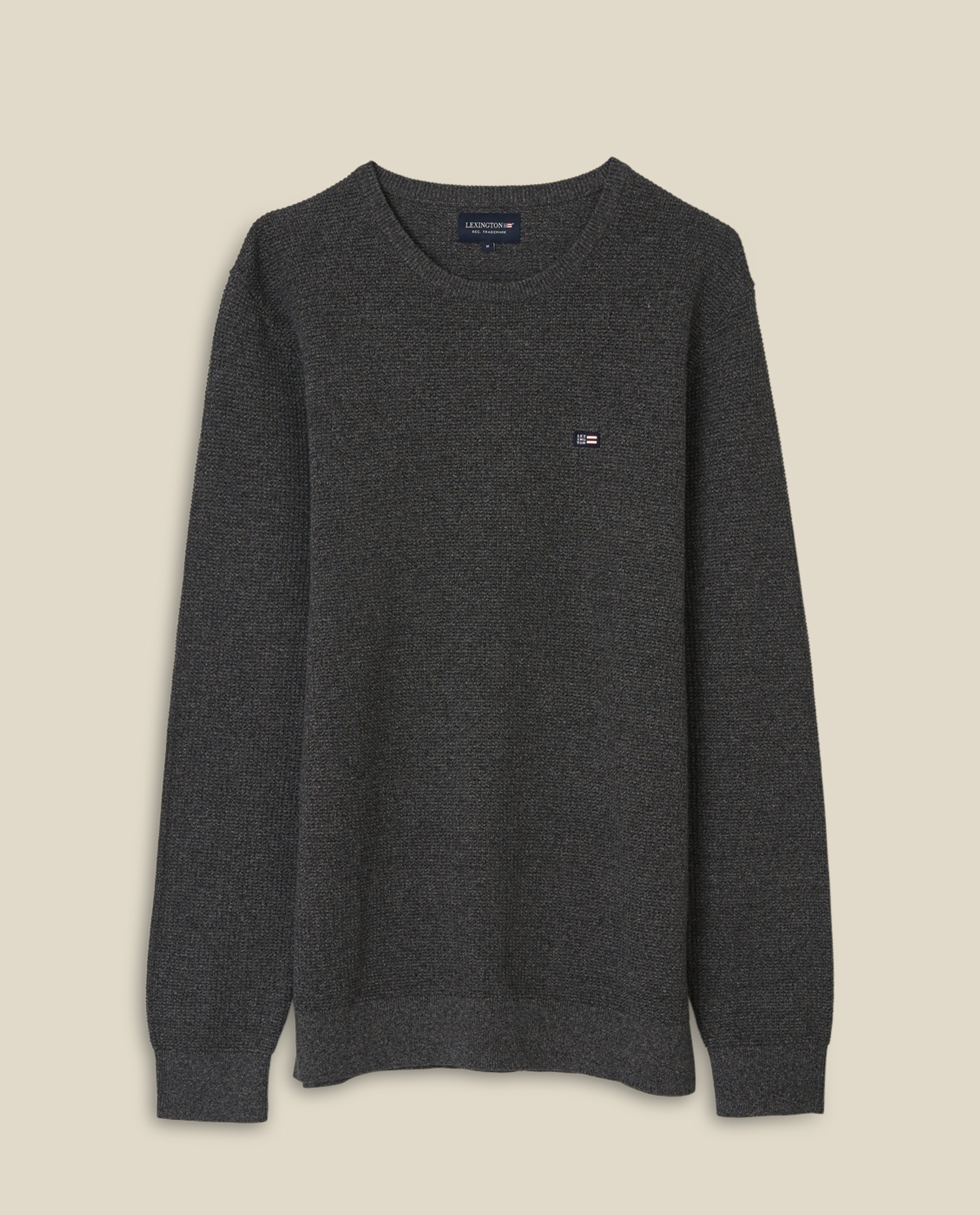 Graham Organic Cotton Crew Neck Sweater, Dark Gray Melange