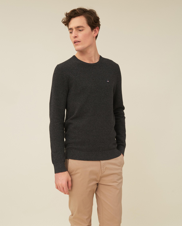 Graham Organic Cotton Crew Neck Sweater, Dark Gray Melange