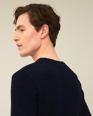 Graham Organic Cotton Crew Neck Sweater, Dark Blue
