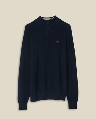 Clay Organic Cotton Half Zip Sweater, Dark Blue