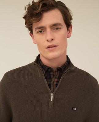 Clay Organic Cotton Half Zip Sweater, Brown Melange