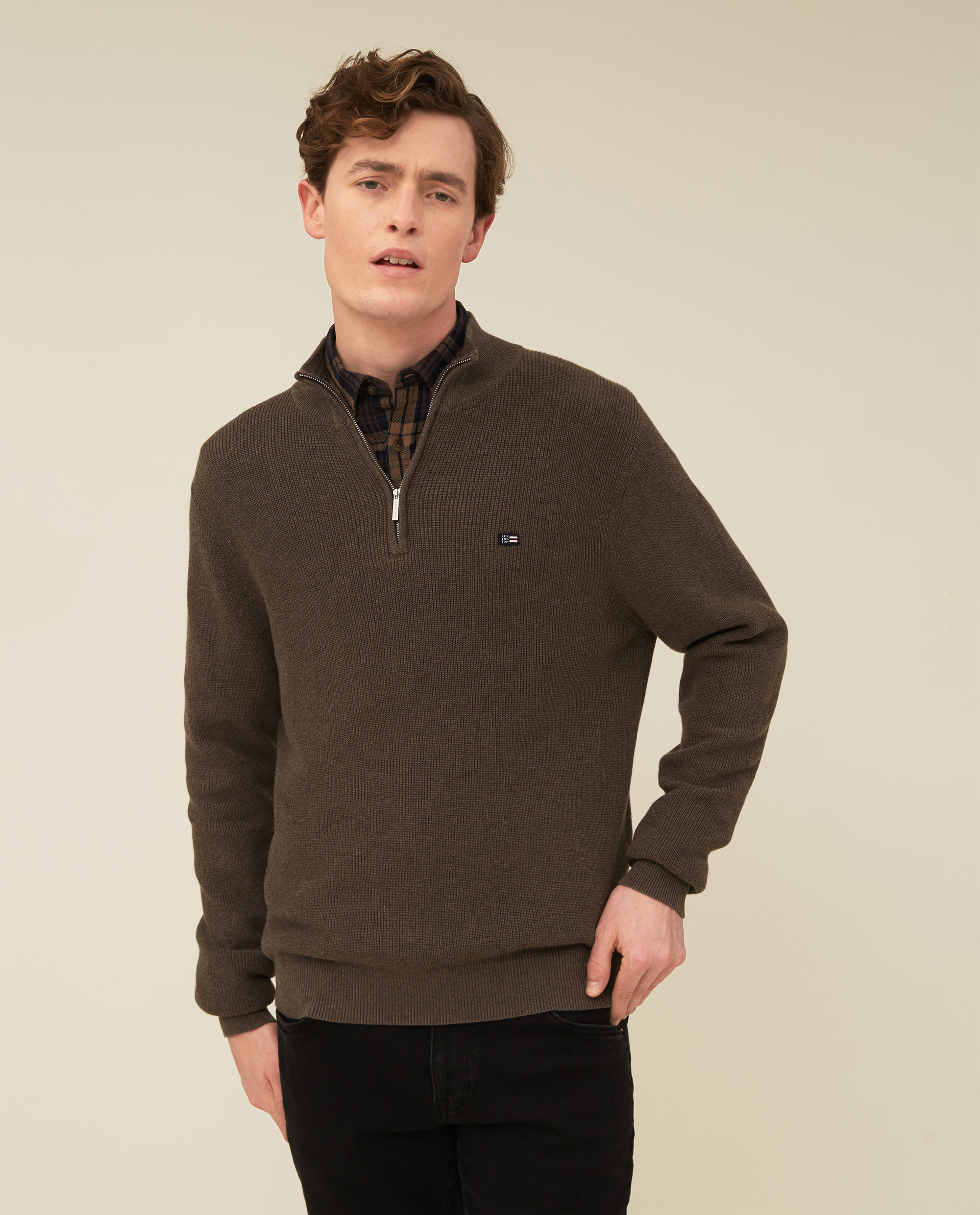 Clay Organic Cotton Half Zip Sweater, Brown Melange
