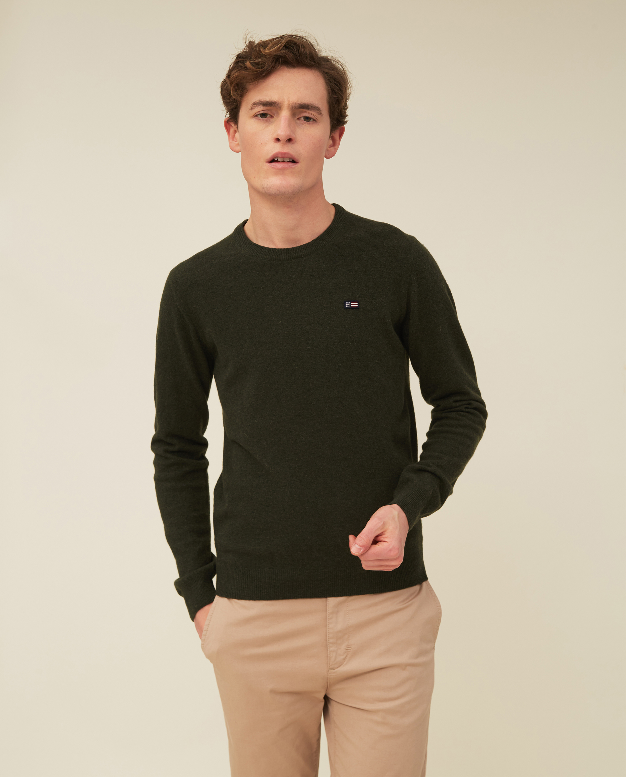 Hank Lambswool Blend Crew Neck Sweater, Green