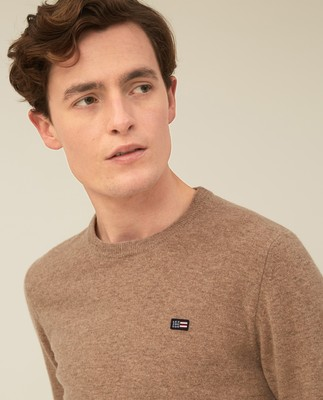 Hank Lambswool Blend Crew Neck Sweater, Beige Melange