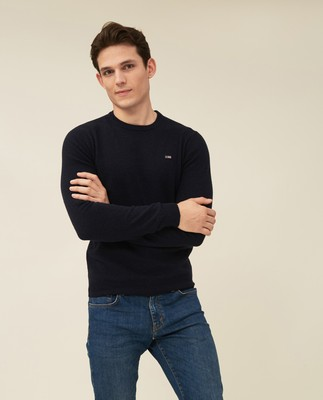 Hank Lambswool Blend Crew Neck Sweater, Dark Blue