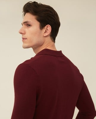 Riley Cotton/Cashmere Blend Knitted Polo, Dark Red