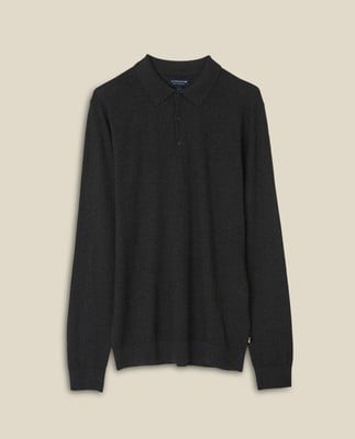 Riley Cotton/Cashmere Blend Knitted Polo, Dark Gray Melange