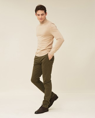 Brian Cotton/Cashmere Roll Neck, Beige Melange