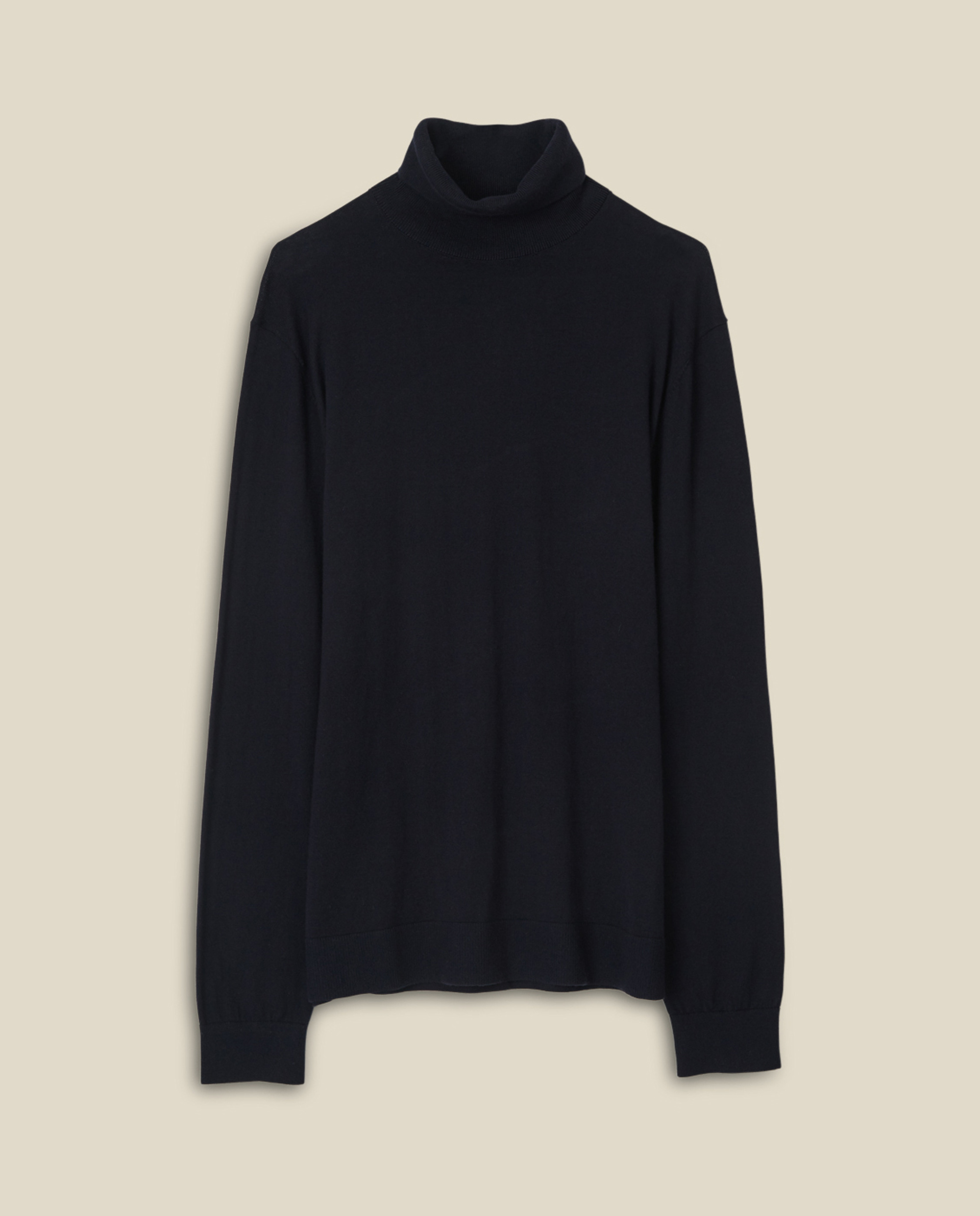 Brian Cotton/Cashmere Roll Neck, Dark Blue