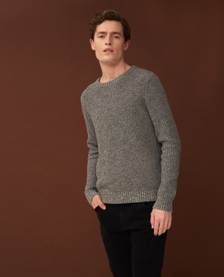 Claude Organic Cotton Twisted Yarn Sweater, Multi Gray